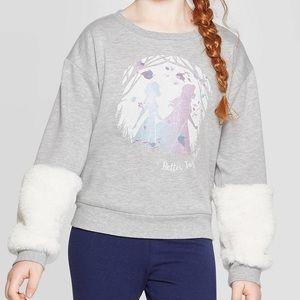 Girls Frozen 2 fuzzy sleeve crew neck sweatshirt